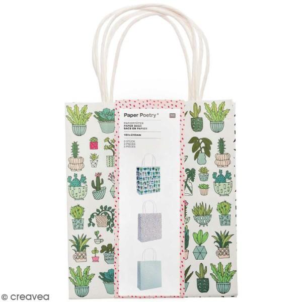 Lot de sacs en papier - Hygge cactus - 18 x 21 cm - 3 pcs - Photo n°1