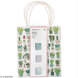 Lot de sacs en papier - Hygge cactus - 18 x 21 cm - 3 pcs