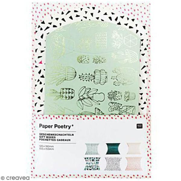 Lot de pochettes cadeaux - Hygge cactus - 2 tailles - 6 pcs - Photo n°1