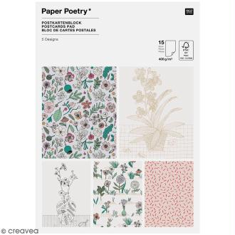 Set cartes postales - Hygge fleurs - 12,5 x 17,5 cm - 15 pcs