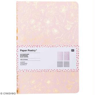 Carnets de notes A5 - Hygge fleurs - 14,5 x 21 cm - 2 pcs