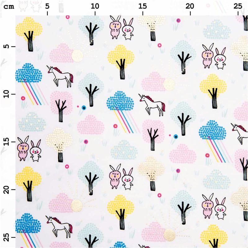 Coupon de tissu Toile coton Hot foil Made by me - Licornes et lapins - Fond Blanc - 50 x 140 cm - Photo n°2