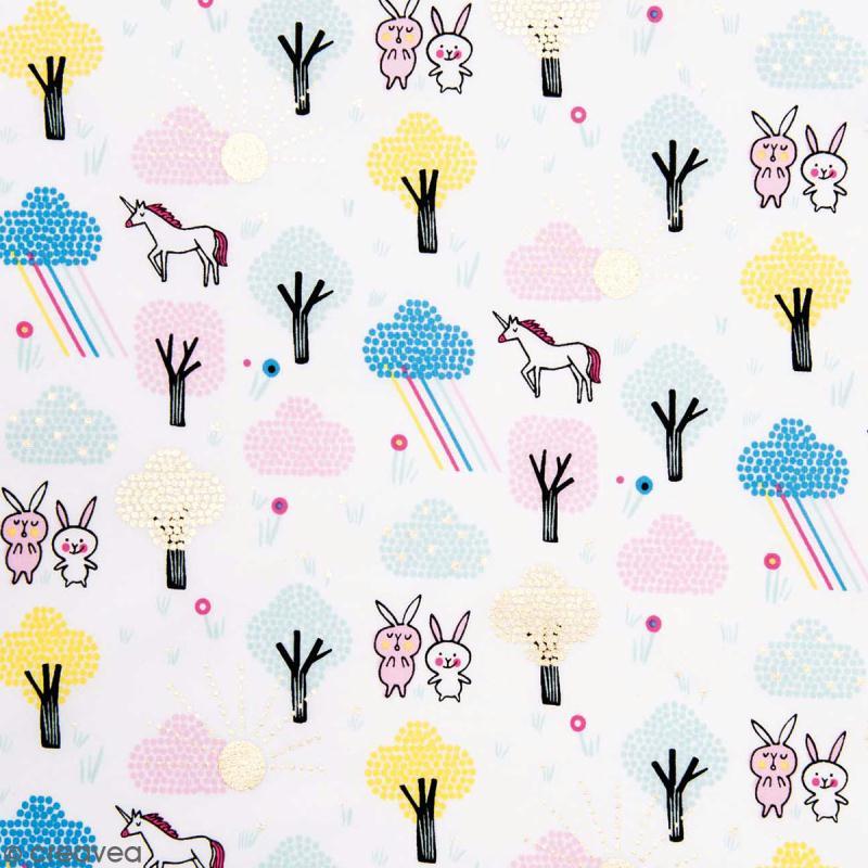 Coupon de tissu Toile coton Hot foil Made by me - Licornes et lapins - Fond Blanc - 50 x 140 cm - Photo n°1