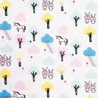 Coupon de tissu Toile coton Hot foil Made by me - Licornes et lapins - Fond Blanc - 50 x 140 cm