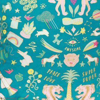 Coupon de tissu Toile coton Hot foil Made by me - Wonderland - Fond Turquoise foncé - 50 x 140 cm