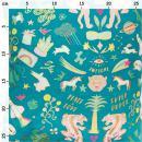 Coupon de tissu Toile coton Hot foil Made by me - Wonderland - Fond Turquoise foncé - 50 x 140 cm - Photo n°2