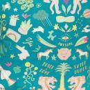 Coupon de tissu Toile coton Hot foil Made by me - Wonderland - Fond Turquoise foncé - 50 x 140 cm - Photo n°1