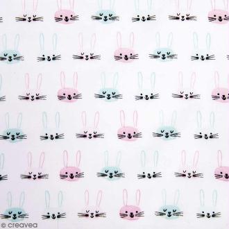 Coupon de tissu Toile coton Made by me - Têtes de lièvres - Fond Blanc - 50 x 140 cm