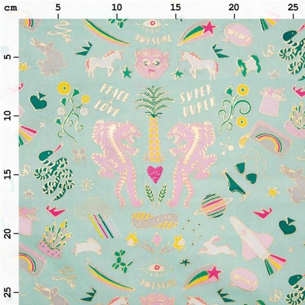 Coupon de tissu Toile cirée Made by me - Wonderland doré et fluo - Fond Menthe - 25 x 70 cm - Photo n°2