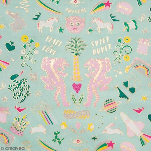 Coupon de tissu Toile cirée Made by me - Wonderland doré et fluo - Fond Menthe - 25 x 70 cm - Photo n°1