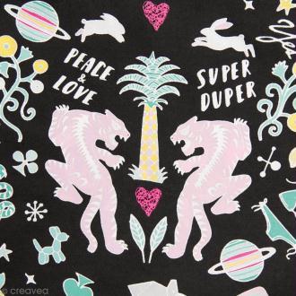Coupon de tissu Toile cirée Made by me - Wonderland licorne - Fond Noir - 25 x 70 cm