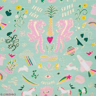 Coupon de tissu Toile jersey Made by me - Wonderland doré et fluo - Fond Menthe - 70 x 100 cm