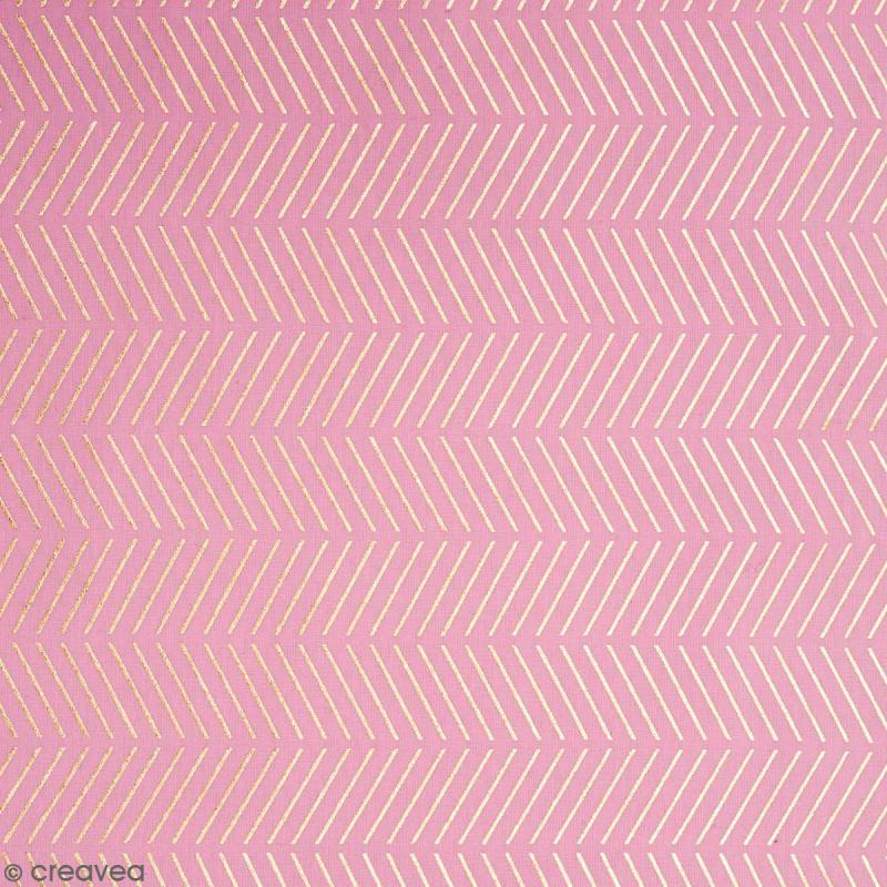 Coupon de tissu Toile coton Hot foil Made by me - Chevrons dorés - Fond Rose - 50 x 140 cm - Photo n°1