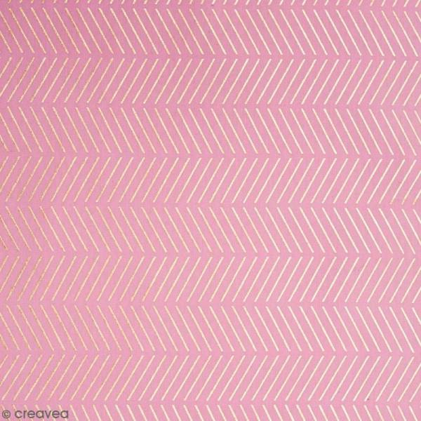 Coupon de tissu Toile coton Hot foil Made by me - Chevrons dorés - Fond Rose - 50 x 140 cm - Photo n°1