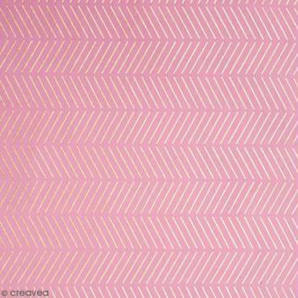 Coupon de tissu Toile coton Hot foil Made by me - Chevrons dorés - Fond Rose - 50 x 140 cm