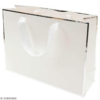 Sac cadeau Blanc bords argentés - 32 x 24 cm