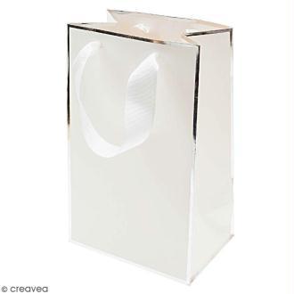 Sac cadeau Blanc bords argentés - 15 x 24 cm