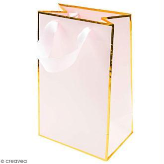 Sac cadeau Rose bords dorés - 15 x 24 cm