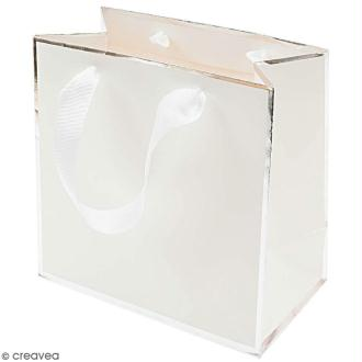 Sac cadeau Blanc bords argentés - 18 x 18 cm