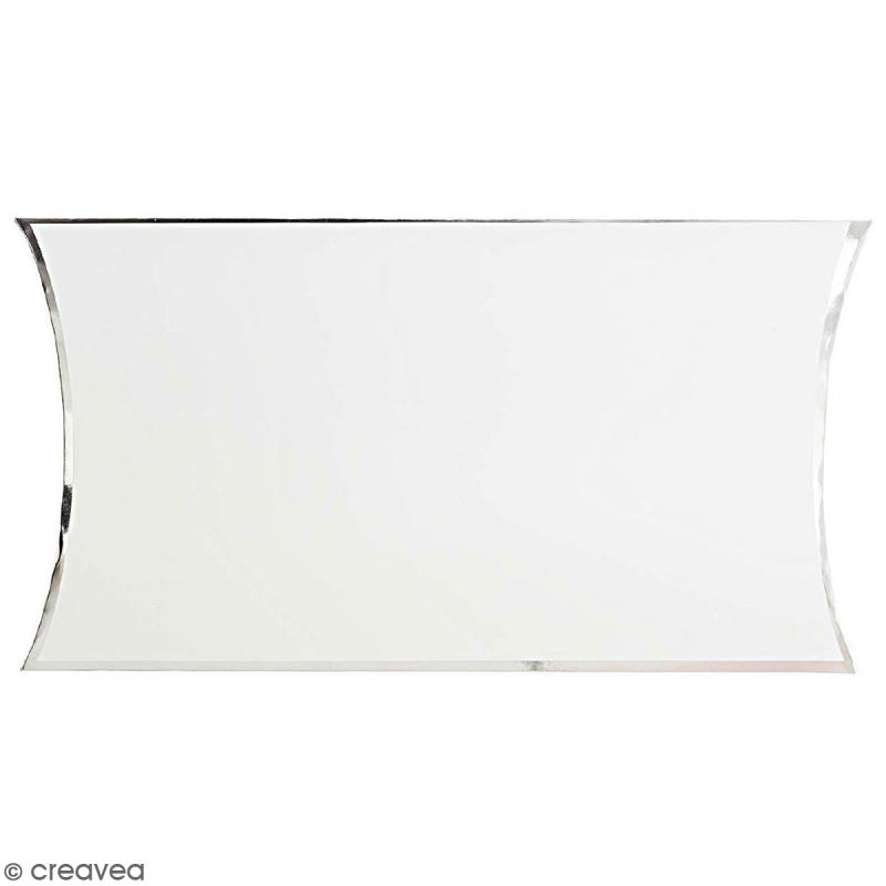 Grande boîte cadeau Blanc bords argentés - 17 x 25 cm - Photo n°1