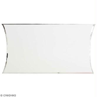 Grande boîte cadeau Blanc bords argentés - 17 x 25 cm