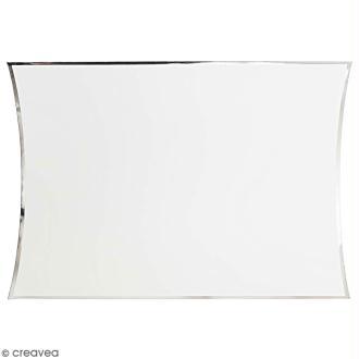 Grande boîte cadeau Blanc bords argentés - 28 x 32 cm