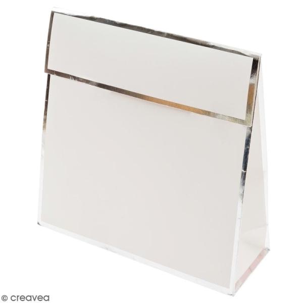 Pochette cadeau Blanc bords argentés - 17 x 17 cm - Photo n°1