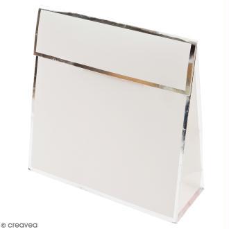 Pochette cadeau Blanc bords argentés - 17 x 17 cm