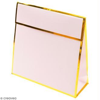 Pochette cadeau Rose bords dorés - 17 x 17 cm