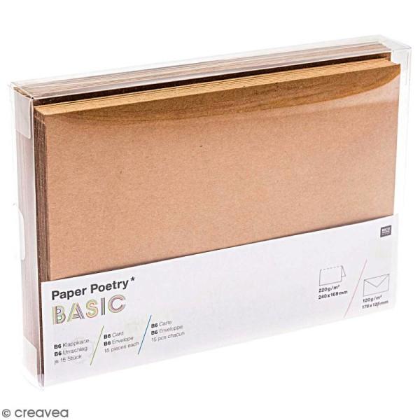 Cartes doubles et enveloppes en kraft - 12 x 16,9 cm - 15 pcs - Photo n°1