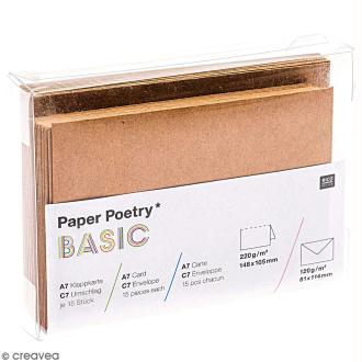 Cartes doubles et enveloppes en kraft - 7,4 x 10,5 cm - 15 pcs