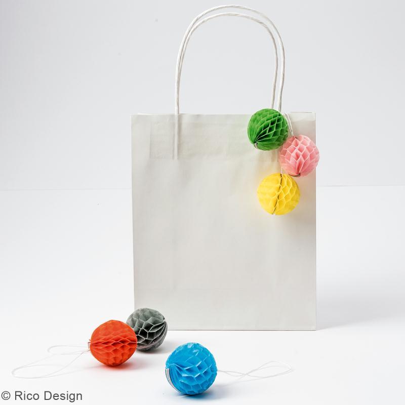 Suspensions nid d'abeille - Mini boule en papier - Multicolore - 6 pcs - Photo n°2