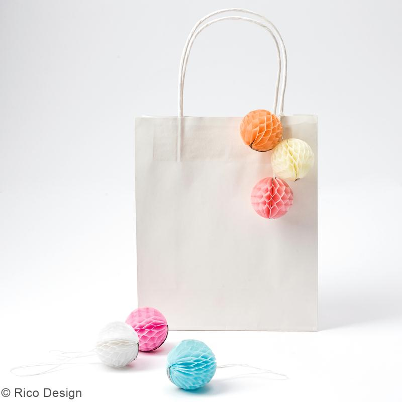 Suspensions nid d'abeille - Mini boule en papier - Pastel - 6 pcs - Photo n°2