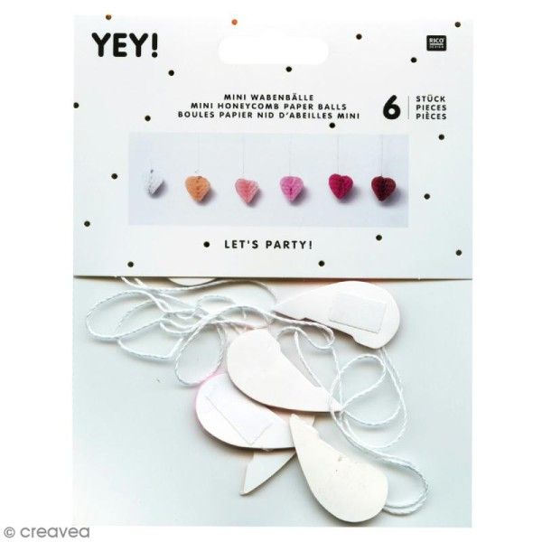 Suspensions nid d'abeille - Mini coeur en papier - Rose - 6 pcs - Photo n°1