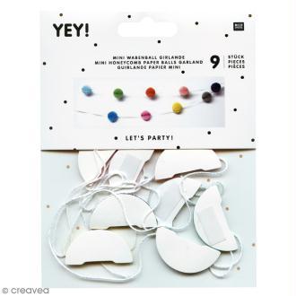 Guirlande nid d'abeille - Mini boule en papier - Multicolore - 9 pcs