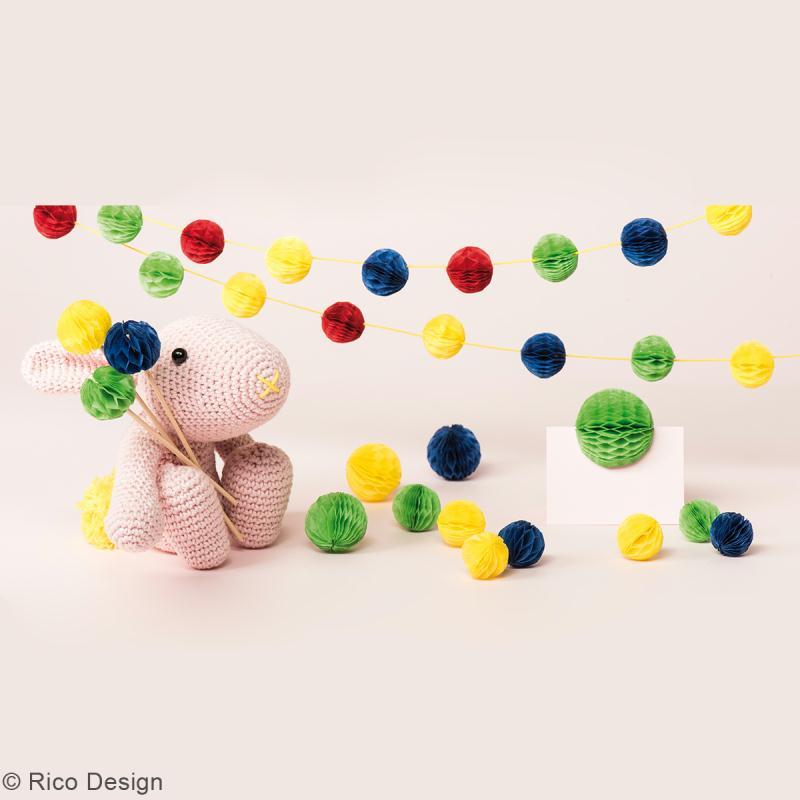 Papiers nid d'abeille Rico - Multicolore - 20 x 33 cm - 4 feuilles - Photo n°2
