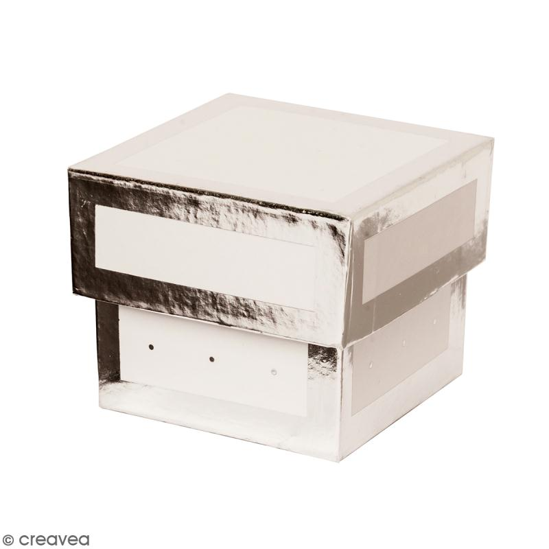 Boîte cadeau Carrée à couvercle - Blanc bords argentés - 5 x 5 x 4 cm - Photo n°1