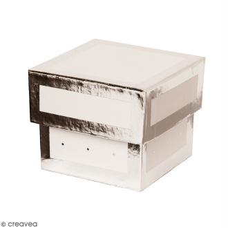 Boîte cadeau Carrée à couvercle - Blanc bords argentés - 5 x 5 x 4 cm