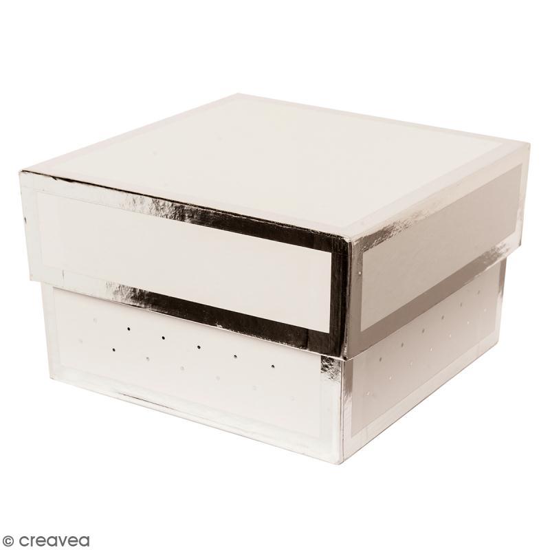 Boîte cadeau Carrée à couvercle - Blanc bords argentés - 17 x 25 cm - Photo n°1