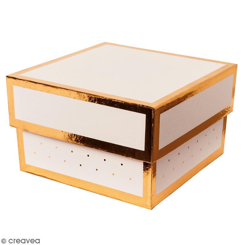 Boîte cadeau Carrée à couvercle - Rose bords dorés - 10 x 10 x 6 cm - Photo n°1