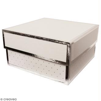 Boîte cadeau Carrée à couvercle - Blanc bords argentés - 17 x 25 cm