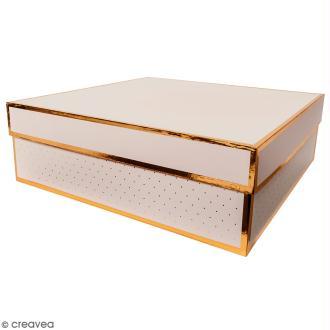 Boîte cadeau Carrée à couvercle - Rose bords dorés - 30 x 30 x 10 cm