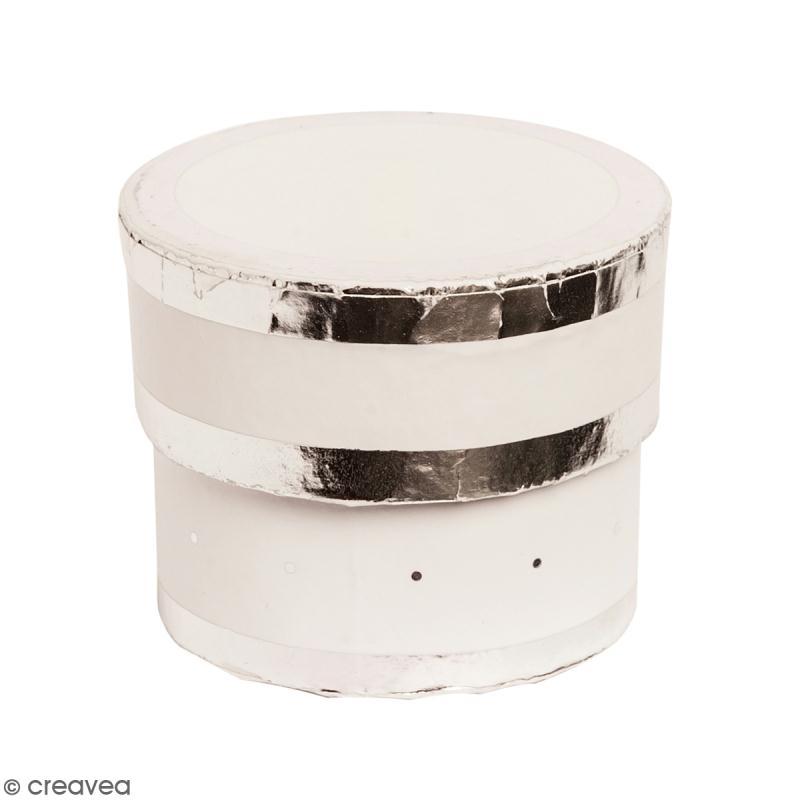 Boîte cadeau Ronde à couvercle - Blanc bords argentés - 5 x 4 cm - Photo n°1