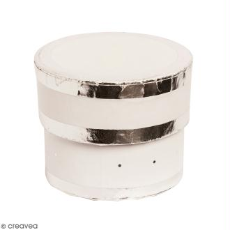 Boîte cadeau Ronde à couvercle - Blanc bords argentés - 17 x 25 cm