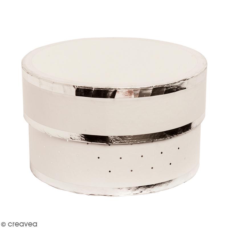 Boîte cadeau Ronde à couvercle - Blanc bords argentés - 10 x 6 cm - Photo n°1