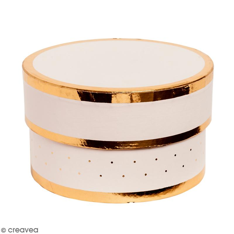 Boîte cadeau Ronde à couvercle - Rose bords dorés - 10 x 6 cm - Photo n°1