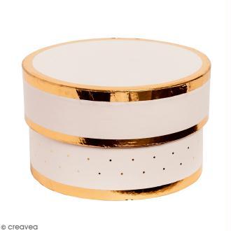 Boîte cadeau Ronde à couvercle - Rose bords dorés - 10 x 6 cm