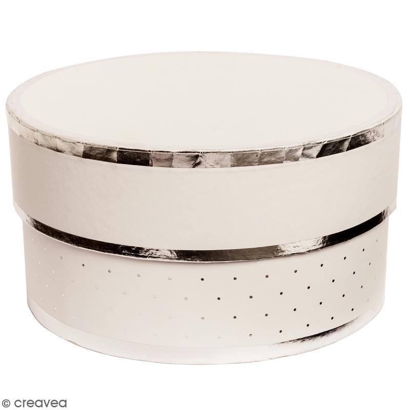Boîte cadeau Ronde à couvercle - Blanc bords argentés - 15 x 8 cm - Photo n°1