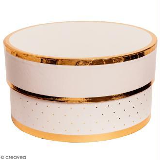 Boîte cadeau Ronde à couvercle - Rose bords dorés - 15 x 8 cm