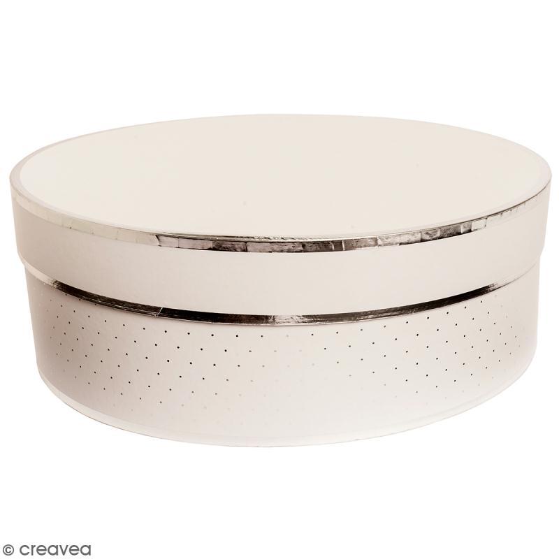 Boîte cadeau Ronde à couvercle - Blanc bords argentés - 30 x 10 cm - Photo n°1